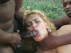 Beautiufl latin w big tits and ass gets bbc dp